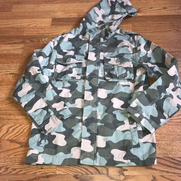 6dcf337fd9747 Gymboree Jackets & Coats | Camo Military Hooded Lightweight Jacket L ...